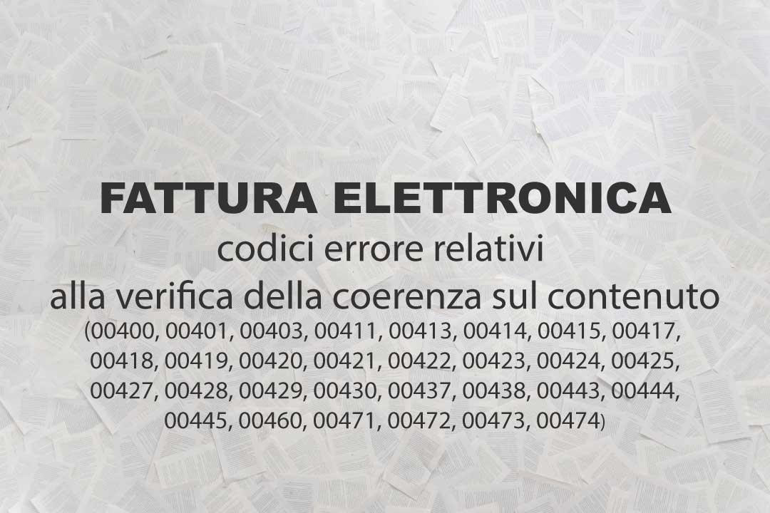 Fattura elettronica, codici errore relativi alla verifica della coerenza sul contenuto