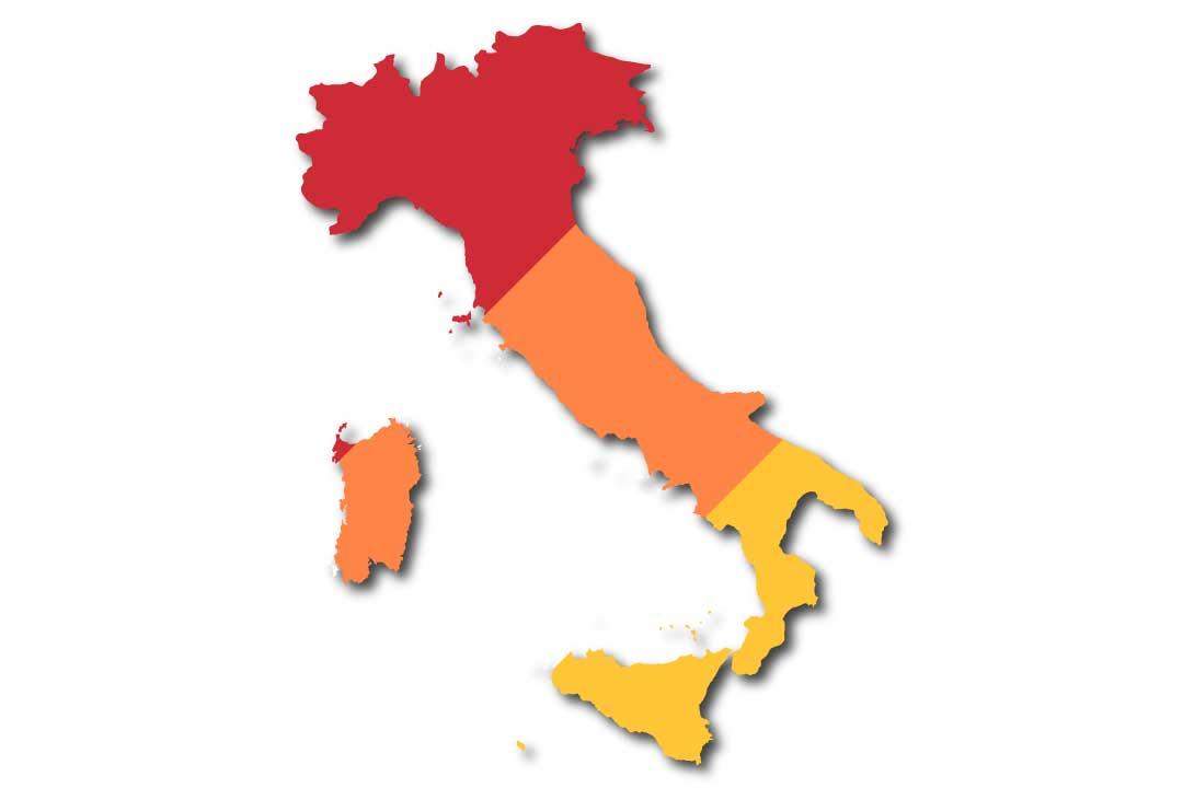 Modello autocertificazione e Italia divisa in zone rosse, arancioni e gialle